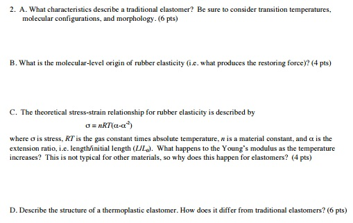 Question What Characteristics Describe A Traditional Elastomer Be Sure To Consider Transition Temperature