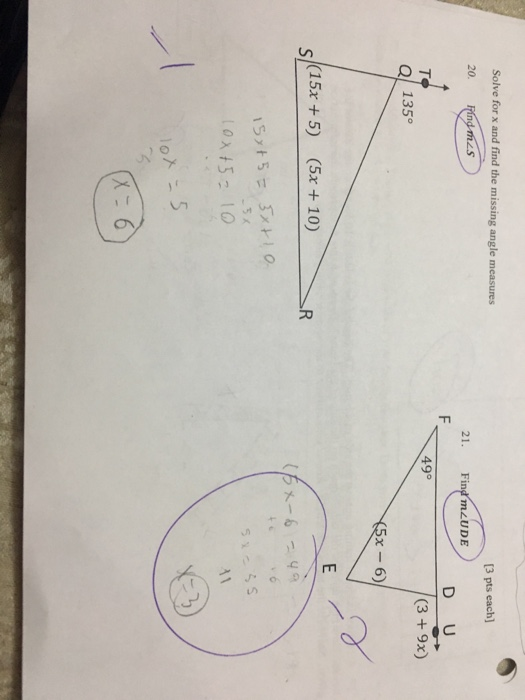 how to solve for x in angles in geometry