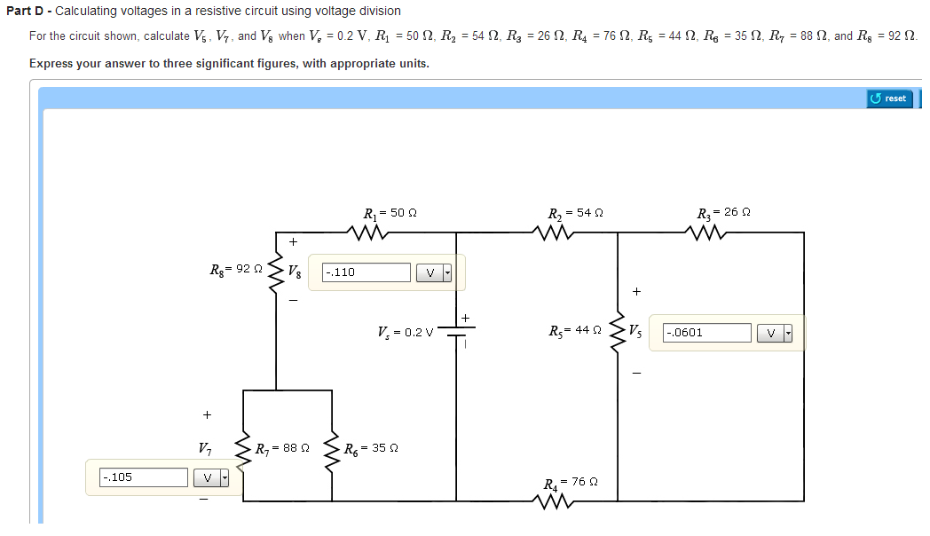 Calculating voltages in a resistive circuit using