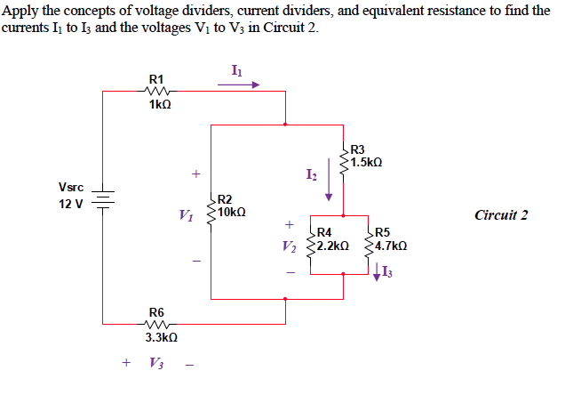 Apply the concepts of voltage dividers, current di