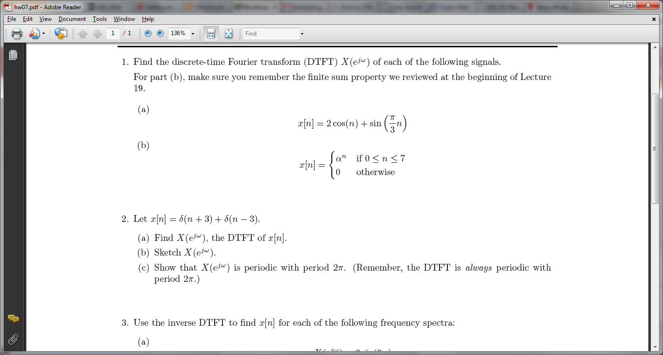 Find the discrete-time Fourier transform (DTFT) X(