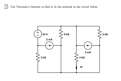 Use Thevenin's theorem to find I0 in the network i