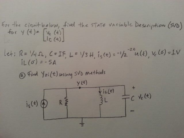 For the circuit below, find the state variable Des