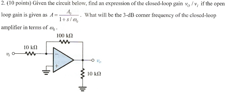 Given the circuit below, find an expression of the