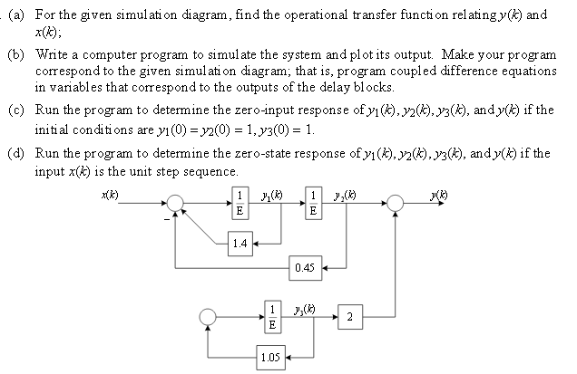 For the given simulation diagram, find the operati