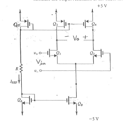 The following IC differential amplifier is to be f