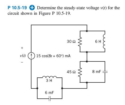 Determine the steady-state voltage v(t) for the ci