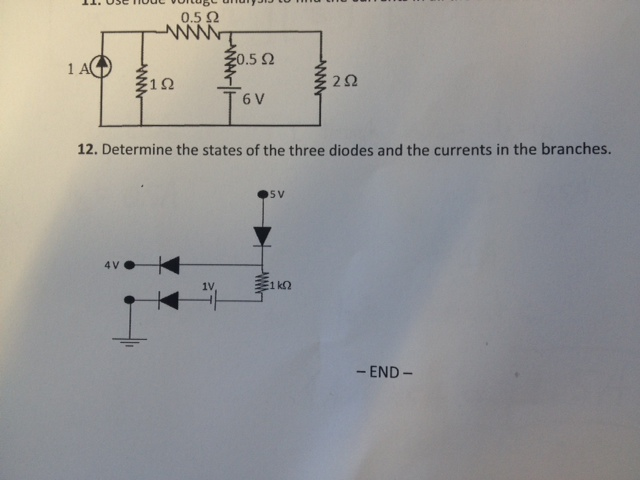 Determine the states of the three diodes and the c