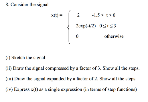 Consider the signal Sketch the signal Draw the sig