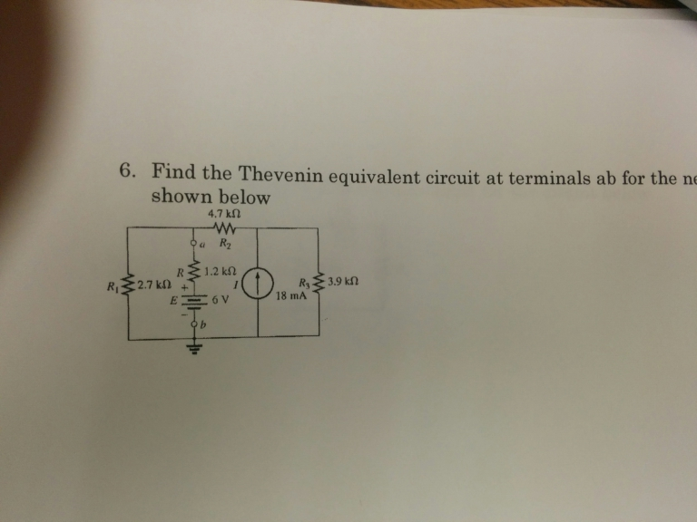 Find the Thevenin equivalent circuit at terminals