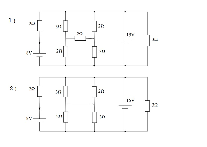 For each of the following electric circuits #1, #2