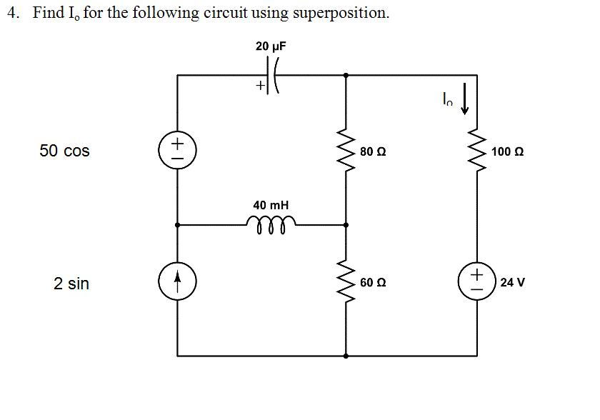 Find Io for the following circuit using superposit