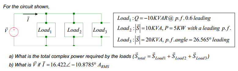 For the circuit shown, What is the total complex