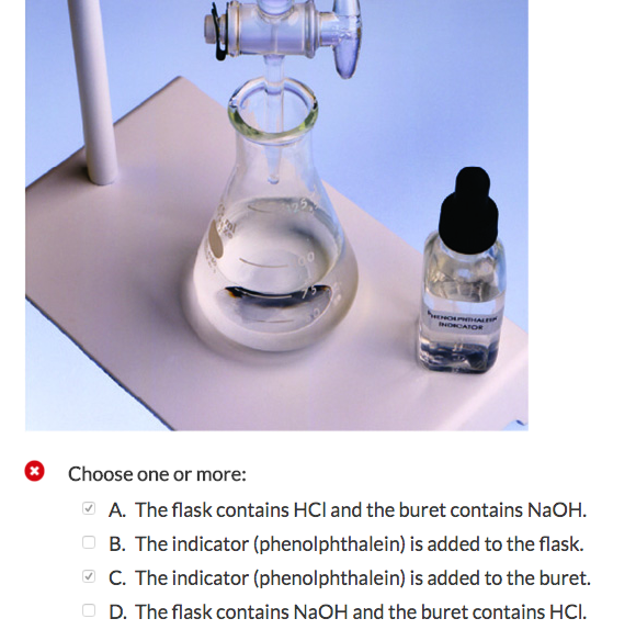 3Choose One Or More A The Flask Contains HCI And Buret NaOH