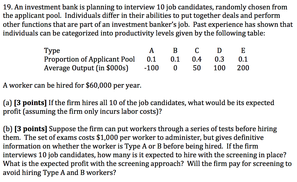 An Investment Bank Is Planning To Interview 10 Job Candidates, Randomly