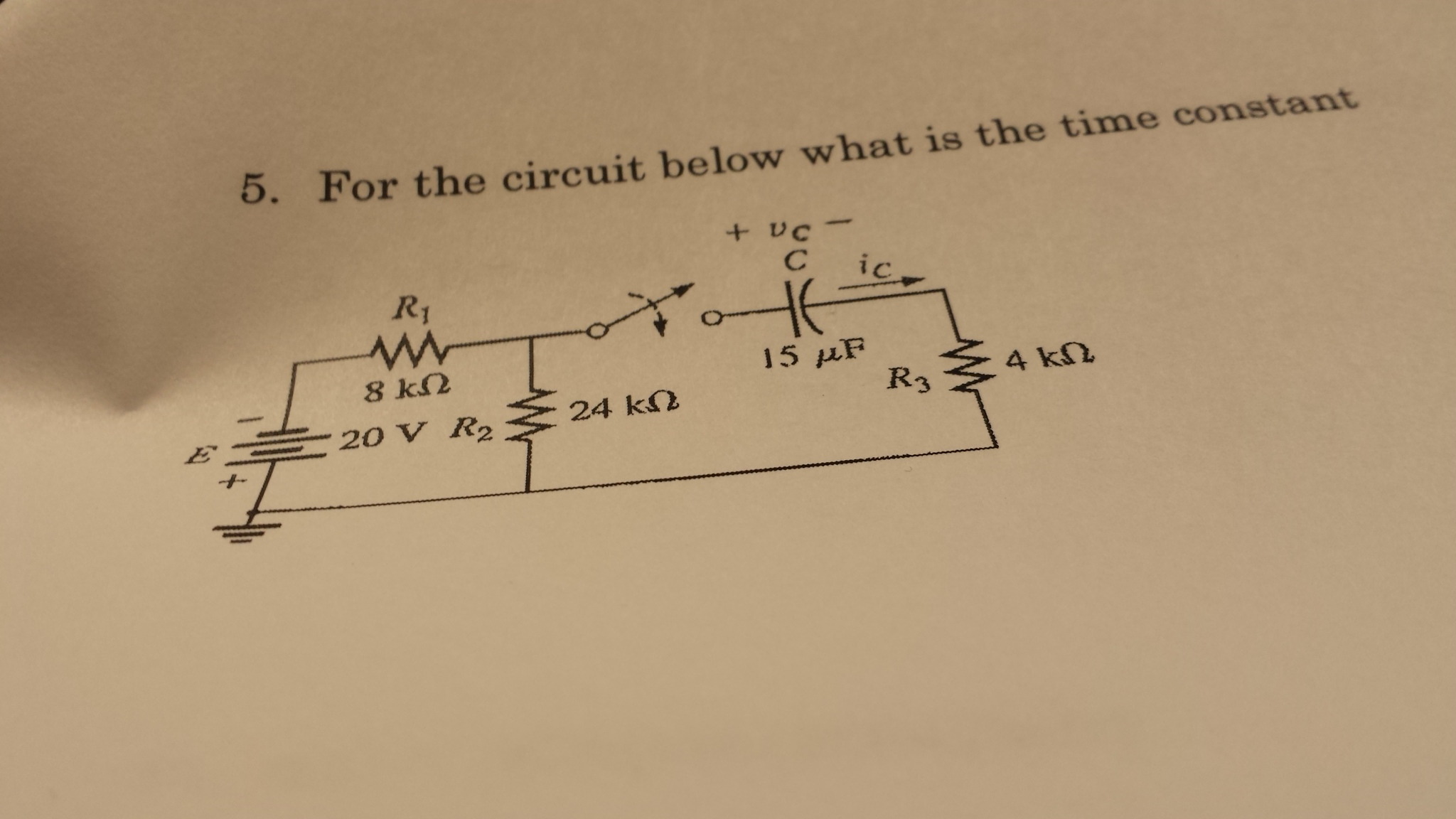 For the circuit below what is the time constant