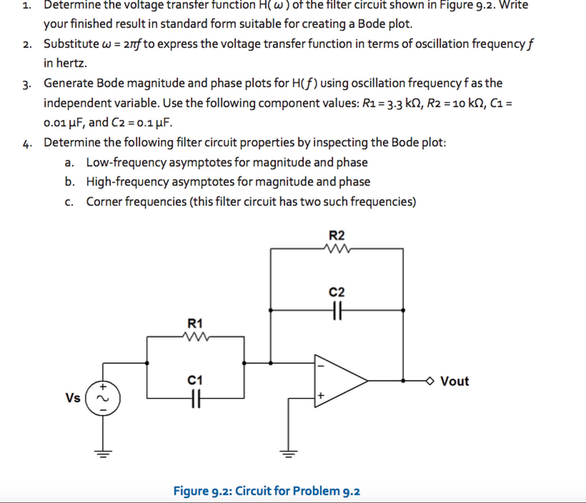 Determine The Voltage Transfer Function H( ? ) Of ...   Chegg.com