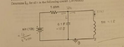 Determine I(t) for all t in the circuit:R = 1 OHMC