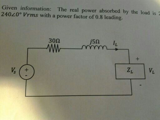 the real absorbed load is 2 kW, the voltage at t