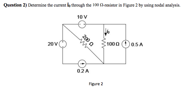 Determine the current io through the 100 H-resisto