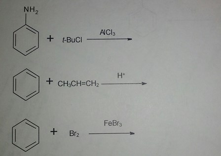 Predict the products of the following reactions. T