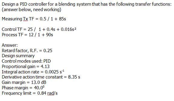 Design a PID controller for a blending system that