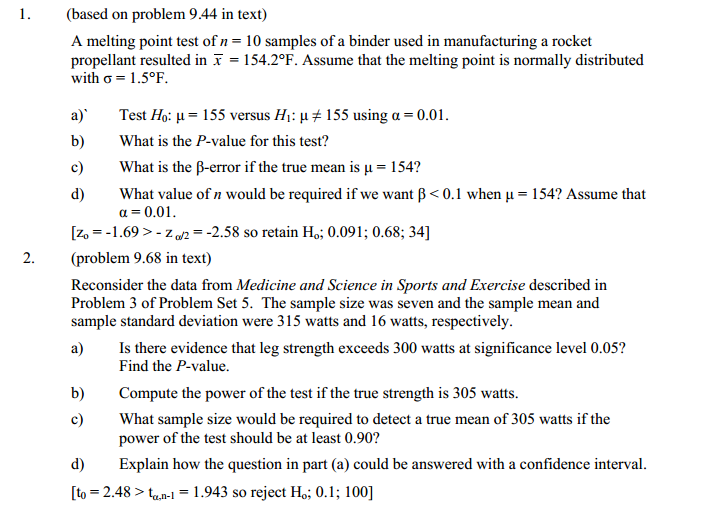 solved  1   based on problem 9 44 in text  a melting point