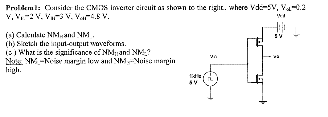 Consider the CMOS inverter circuit as shown to the