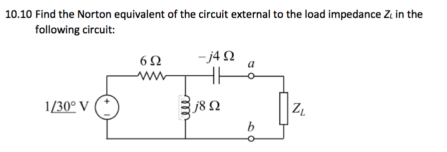 Find the Norton equivalent of the circuit external