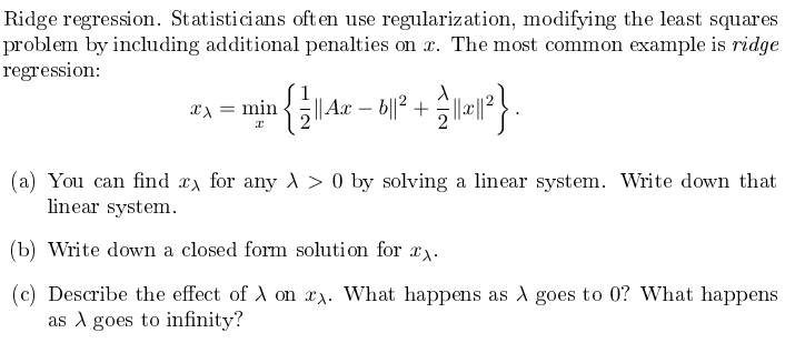 Ridge regression homework