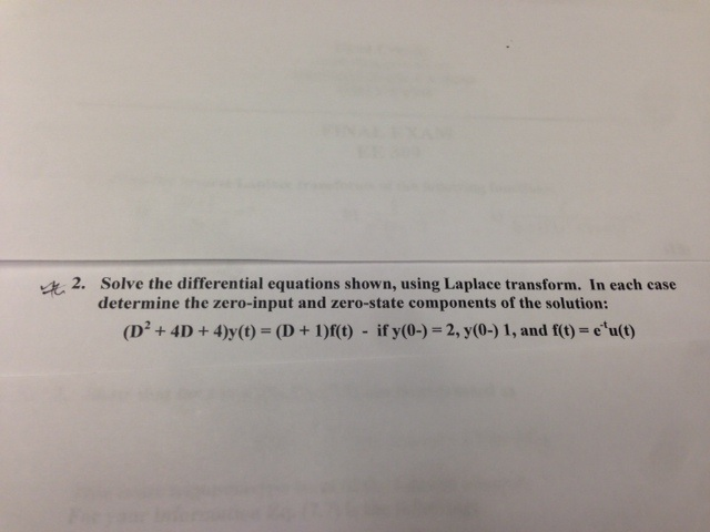Solve the differential equations shown, using Lapl