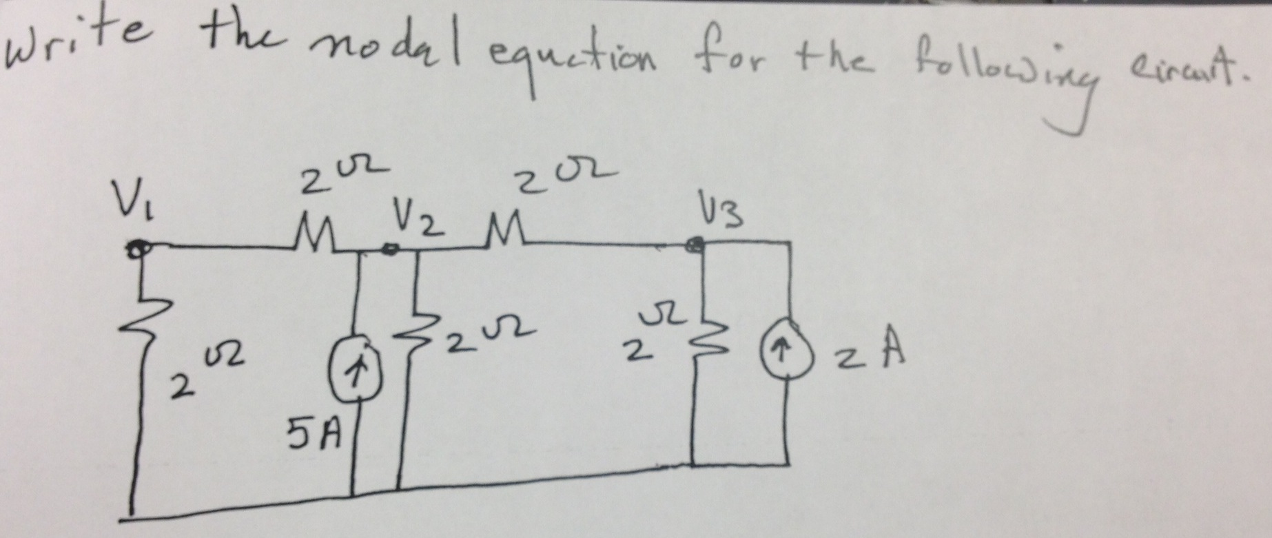 Write the nodal equation for the following circuit