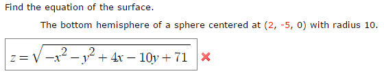 how to find the radius of a sphere given equation
