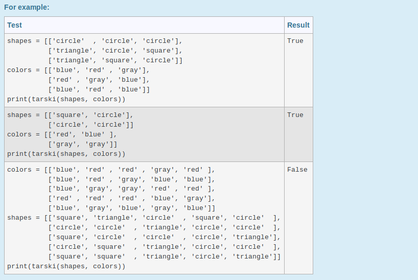 Question Write A Python Function Tarski That Takes In Two Lists Of Shapes And Colors Return