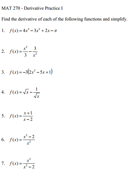Image for find the derivative of each of the following functions and