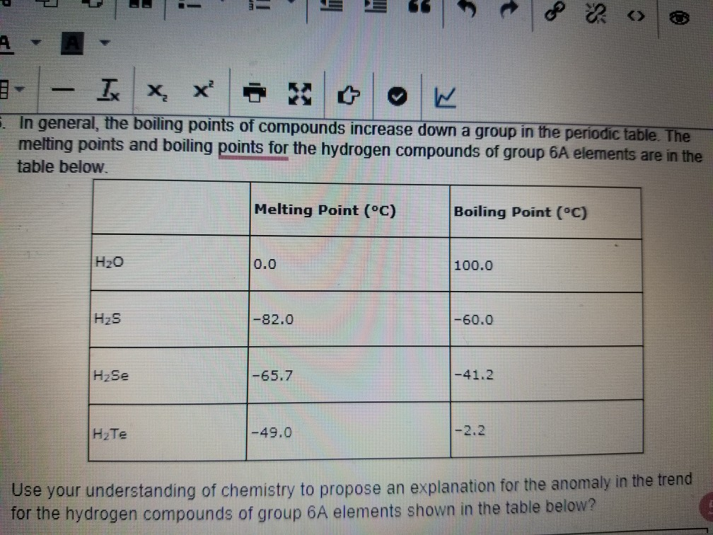 Solved in general the boiling points of compounds i question in general the boiling points of compounds increase down a group in the periodic table the urtaz Image collections