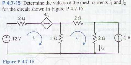 Determine the values of the mesh currents i1 and i