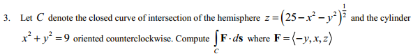Let C denote the closed curve of intersection of t