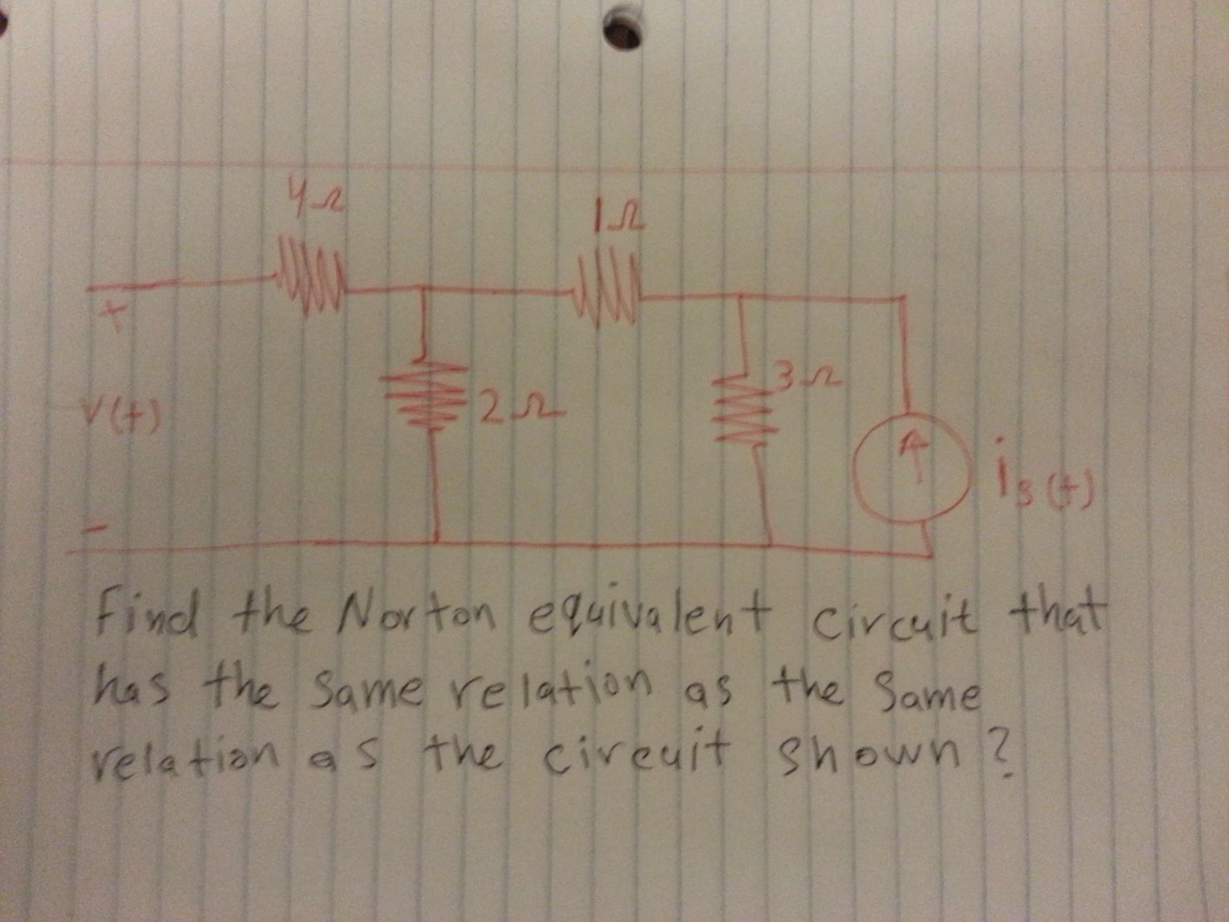 Find the Norton equivalent circuit that has the sa