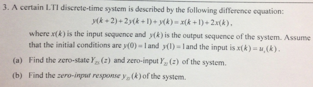 A certain LTI discrete - time system is described
