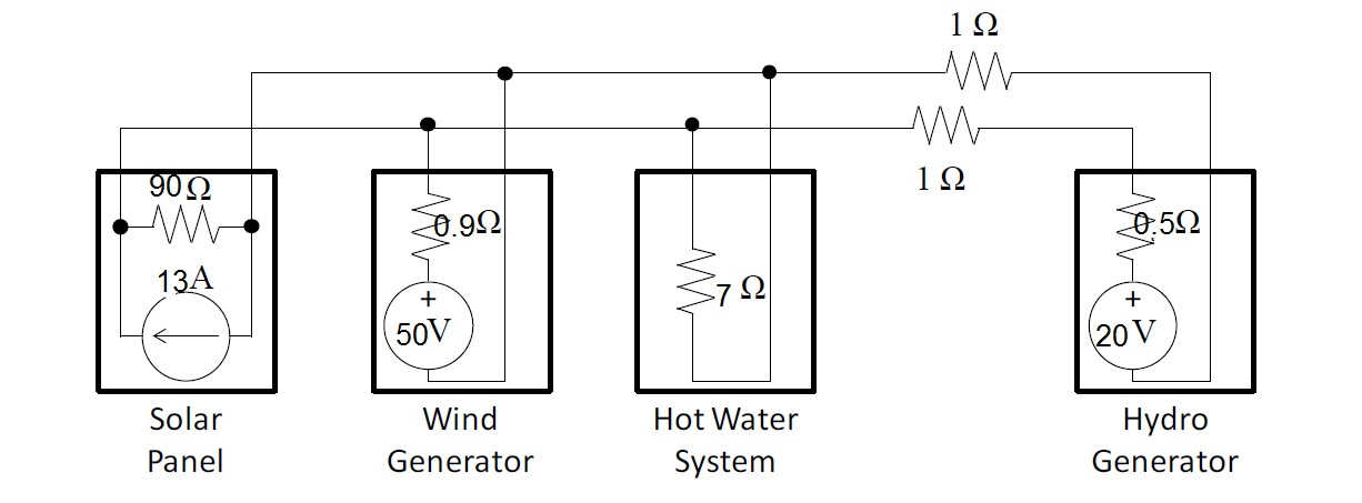 Draw a circuit diagram of the system described ab