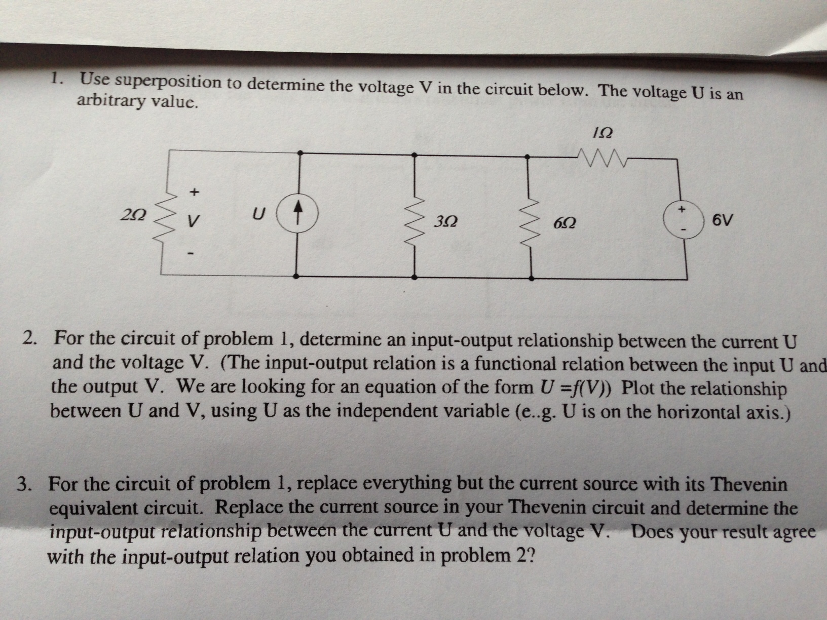 Use superposition to determine the voltage V in th