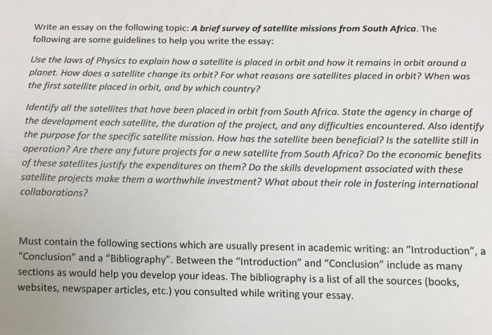 write an essay on the following topic a brief sur com question write an essay on the following topic a brief survey of satellite missions from south africa th