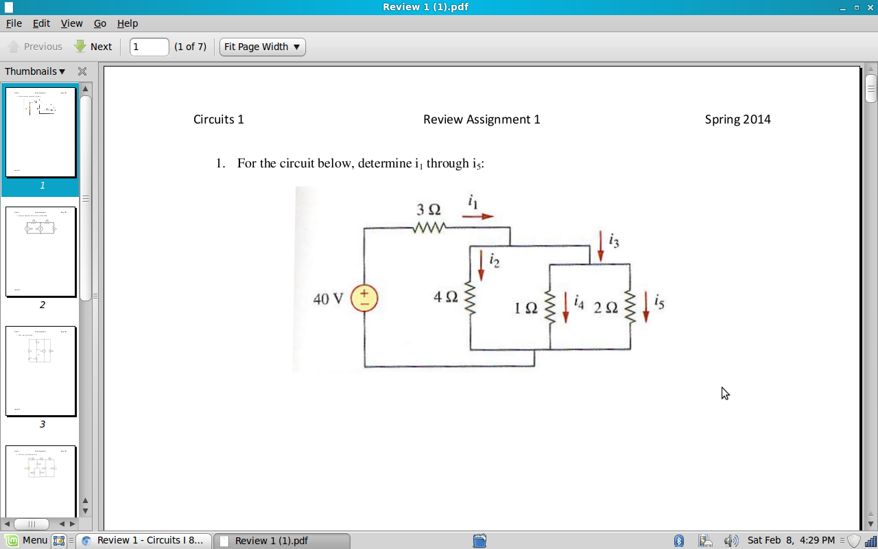 For the circuit below, determine i1 through i5: