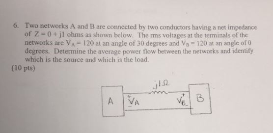 Two networks A and B are connected by iwo conducto