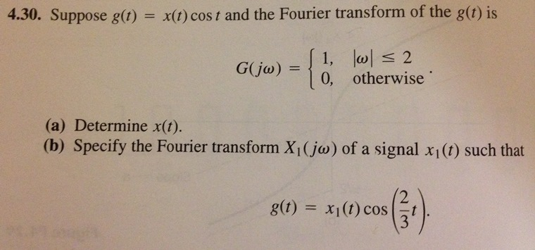 Suppose g(t) = x(r)cost and the Fourier transform