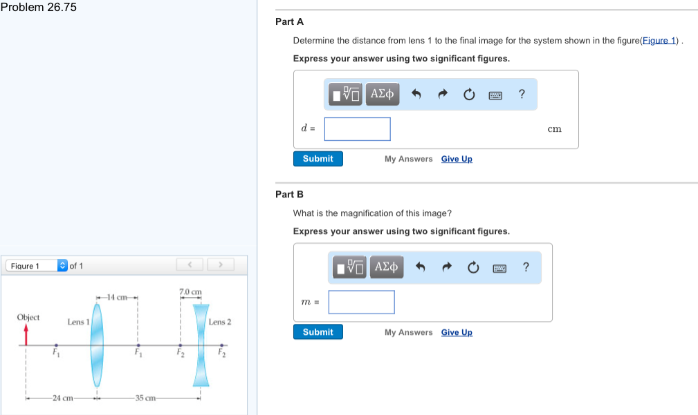 Solved: Determine The Distance From Lens 1 To The Final Im ...