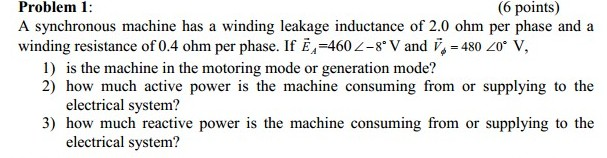 A synchronous machine has a winding leakage induct