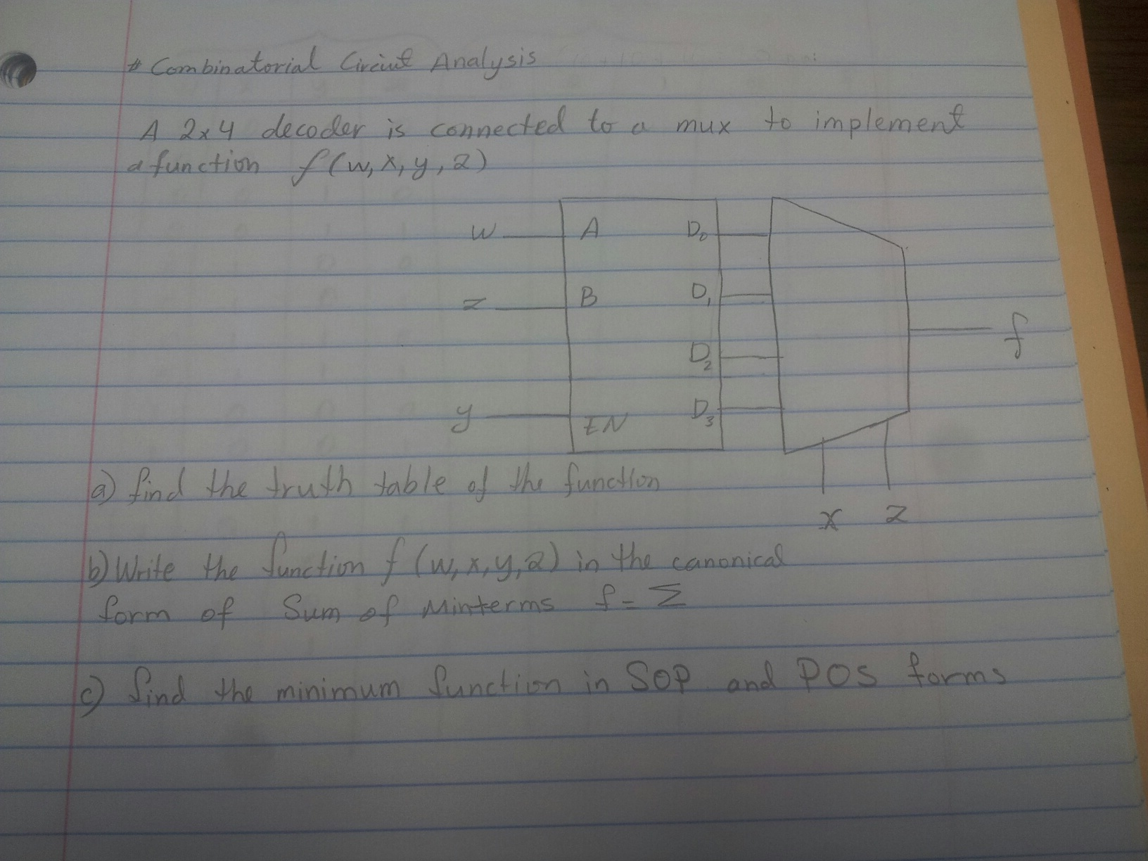 Combinatorial Circuit Analysis A 2 times 4 decode