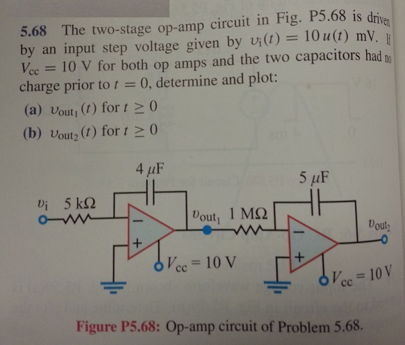 The two-stage op-amp circuit in Fig. P5.68 is driv